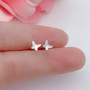 Solid Silver Butterflies stud earrings